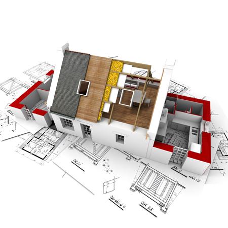 Moderne Architektur für einen Einfamilienhausbau