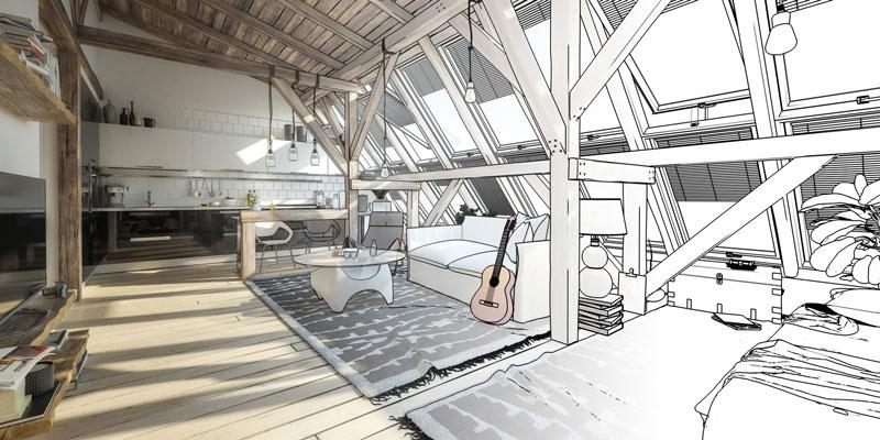 Zusätzlichen Wohnraum durch Dachausbau schaffen